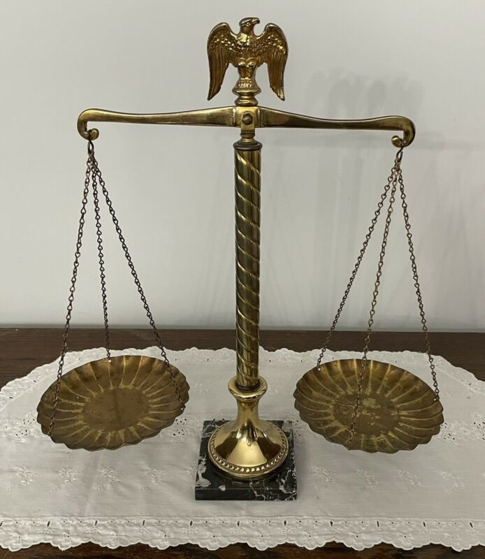 Vintage Brass Balance of Justice Scale Eagle Top Black Marble Base Mid Century
