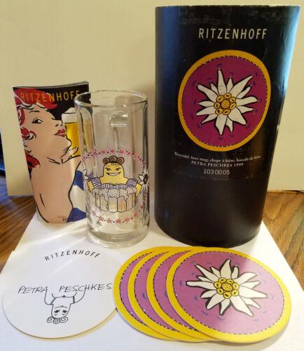 Ritzenhoff Beer Mug Stein Glass Petra Peschkes 1999 Complete Set in Tube Germany