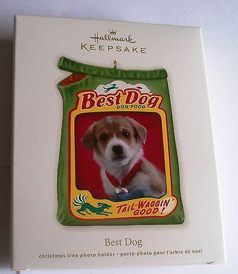 COLORFUL HALLMARK'S BEST DOG  FOOD TAIL WAGGIN GOOD XMAS PHOTO HOLDER  ORNAMENT