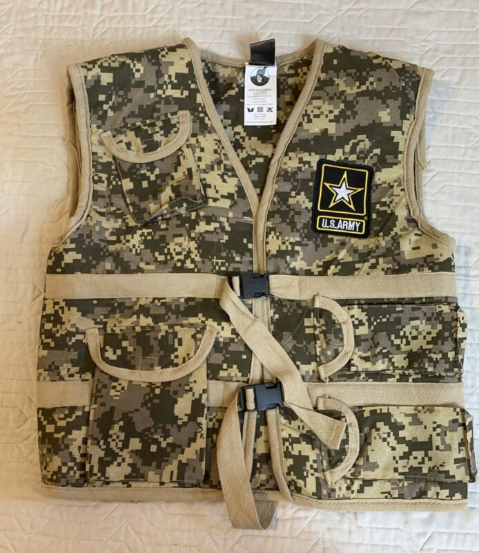 Spirit Halloween US Army Vest Boys Size Large Camouflage Utility Camo Sleeveless