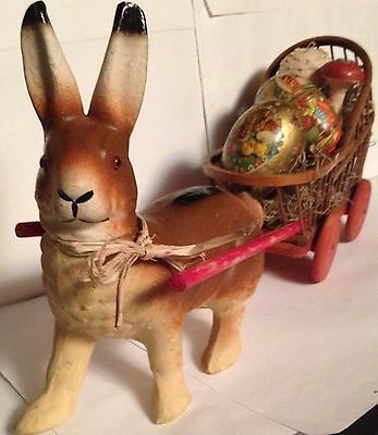 Antique VTG Large Composition Easter Bunny Candy Container Glass Eyes Wood Cart