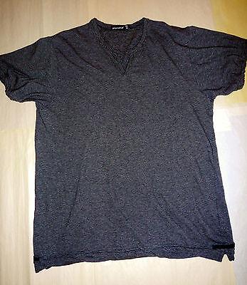 Dk Grey T-shirt (ALTERNATIVE T-SHIRT, SZ L, BLACK/DK HEATHER GREY NARROW STRIPES,  PRE-OWNED)