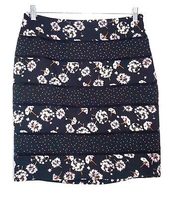 NWT $89 White House Black Market Mixed Print Bumble Bee Pencil Skirt -