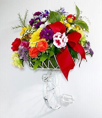 ART METAL LARGE BICYCLE BASKET OF SPRING SUMMER FLOWERS WALL DOOR WREATH FLORALS ()