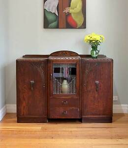 Carved Antique Vintage Leadlight Oak Sideboard / Buffet / Cabinet Williamstown Hobsons Bay Area Preview