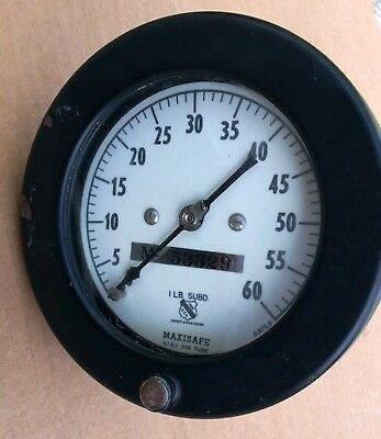 Maxisafe Gauge 0-60psi Used - Great Looking Gauge For Steam Punk