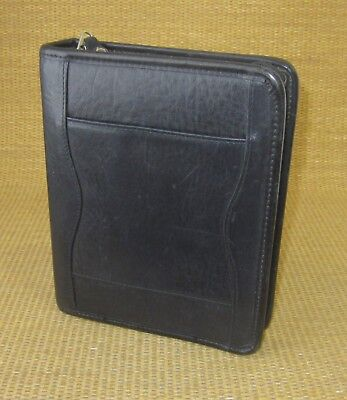 Compact 1.25 Rings Black Leather Franklin Covey Zip Plannerbinder Cross-body