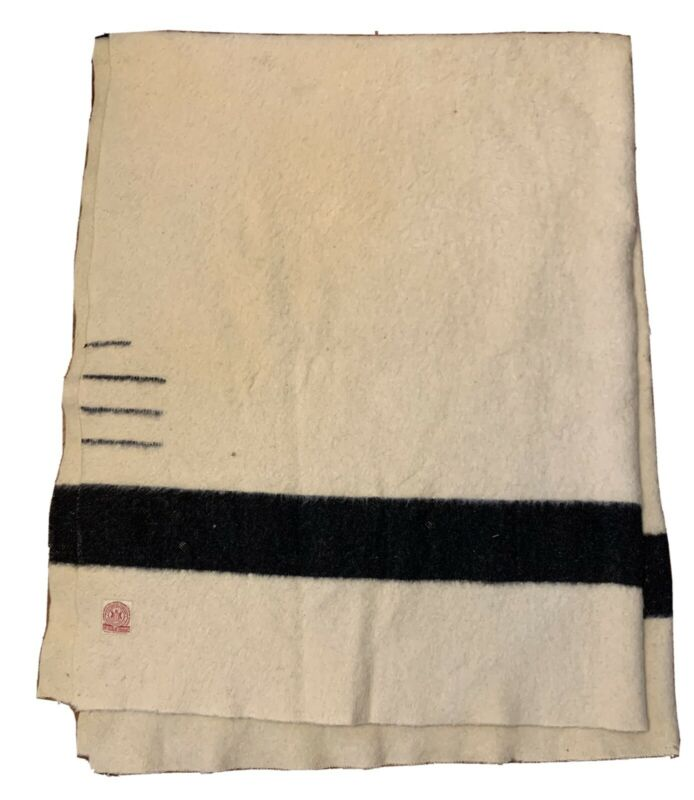 Vtg 1920s HUDSON BAY Wool Blanket MADE IN ENGLAND 3.5 Point