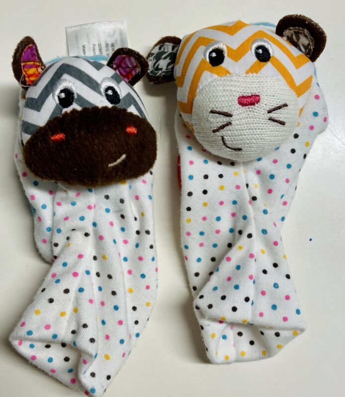 Baby Infant Infantino Foot Rattle Socks Footies Zebra Tiger Animal Polka Dot Toy
