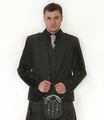 SCOTTISH GREY ARGYLE JACKET & VEST  BONE EFFECT BUTTON EX HIRE £99 LOTS OF SIZES