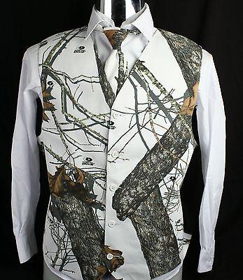 Men's Mossy Oak White Camo Tuxedo Vest Winter Brush with choice of tie Wedding  - Camo Tux