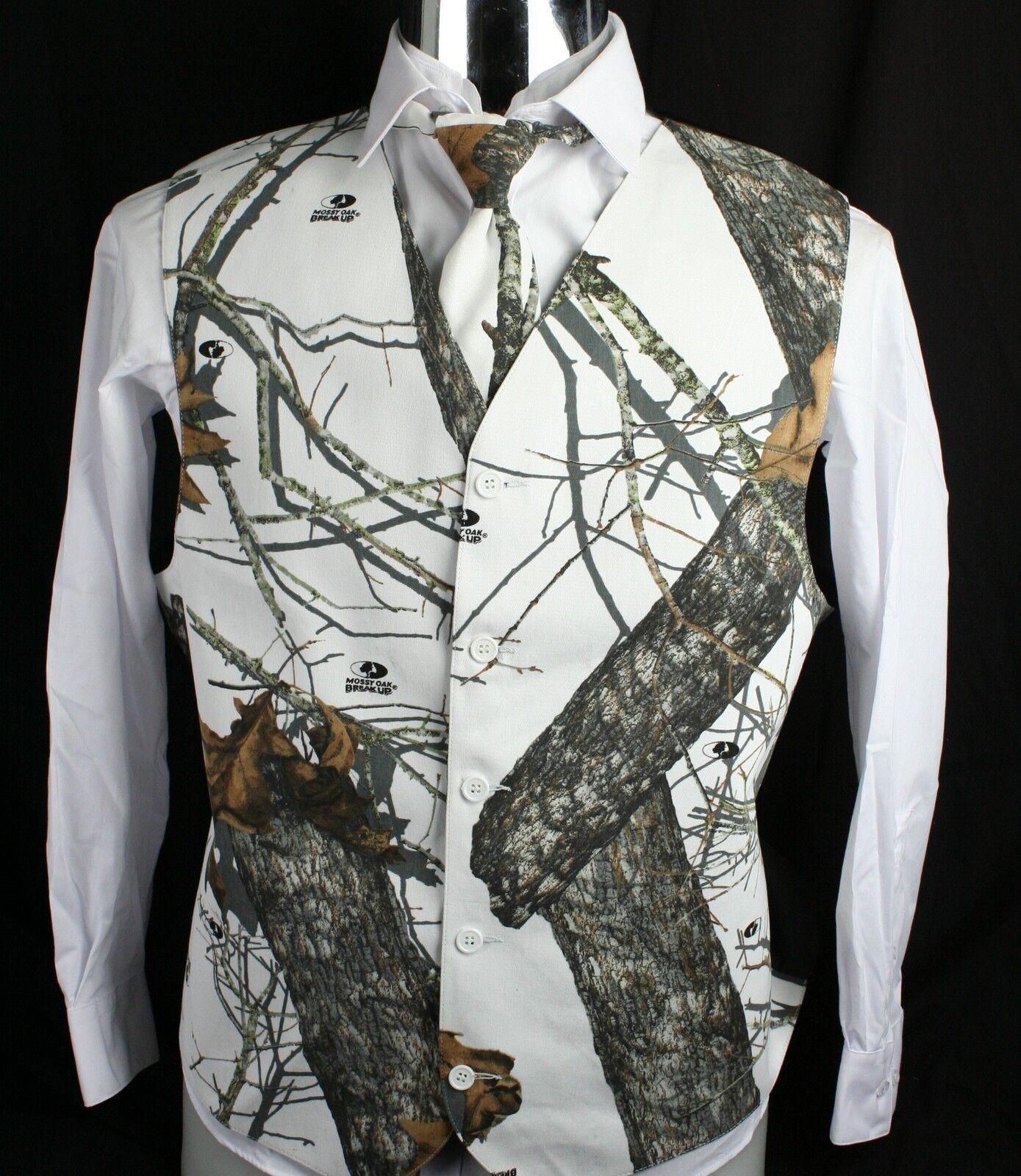 Men's Mossy Oak White Camo Tuxedo Vest Winter Brush With ...