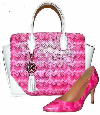 KAZAR White/Pink LeatherTote Handbag and Shoes 8M Set NWT na sprzedaż  Wysyłka do Poland