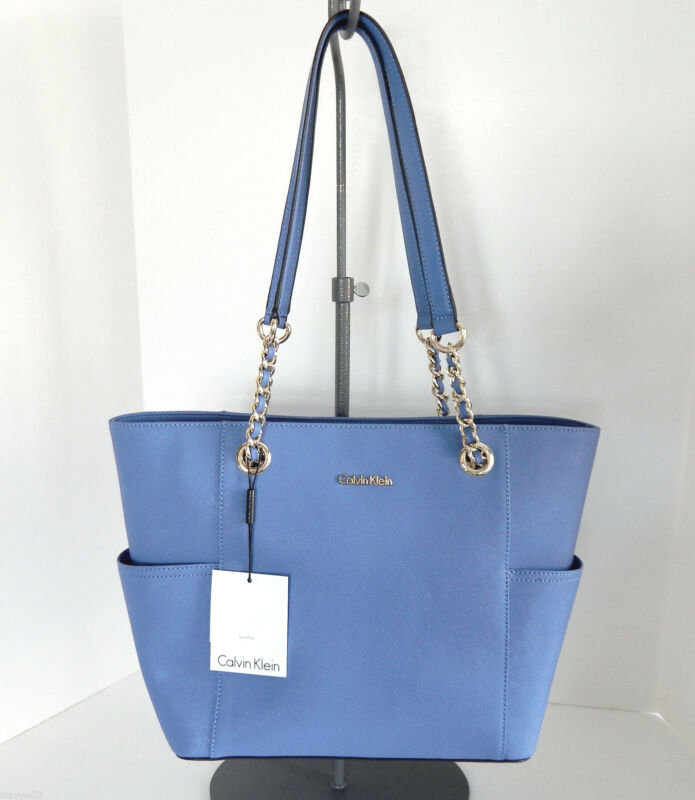 CALVIN KLEIN Saffiano Leather Light Blue Carry All Tote + Dust Bag NWT $228 +Tax
