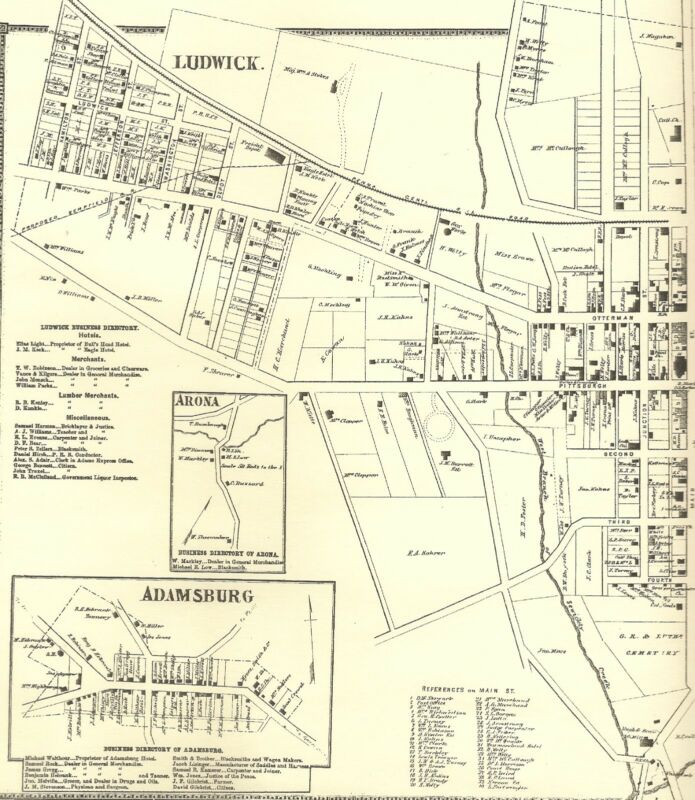 Greensburg Adamsburg Arona Hempfield PA 1867 Maps with Landowners Names Shown