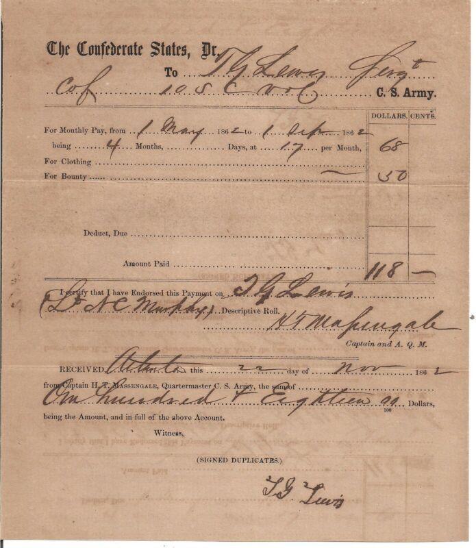 1862 Confederate T.G. Lewis 10th South Carolina Infantry Killed at Chickamauga