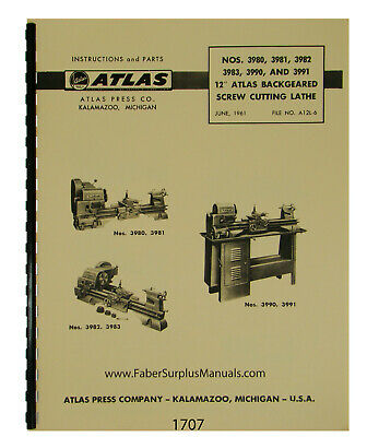 Atlas 12 Lathe Models 3980 To 3983 3990 3991 Instruction Parts Manual 1707