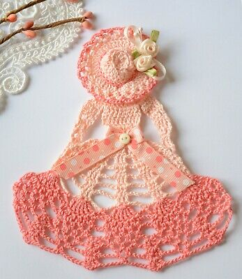 Mother's Day Gifts Crafts (Spring Crinoline Lady Hand Crochet Doily / Peach & Coral / Mother's Day)