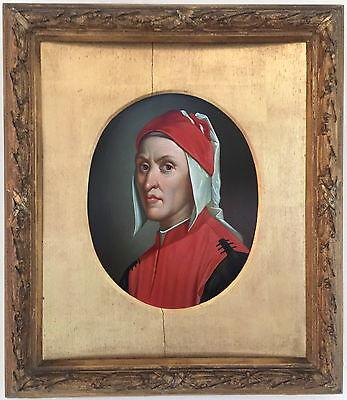 Dante Portrait Antique Old Master Oil Painting 19th Century Italian Florentine