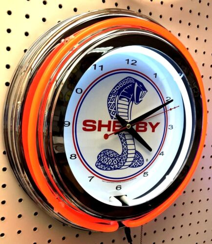 """15"""" Red SHELBY Snake Double Neon Chrome Clock Cobra Mustang"""