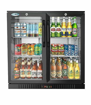 2 Door Back Bar Cooler Counter Height Glass Door Refrigerator With Led Lighting