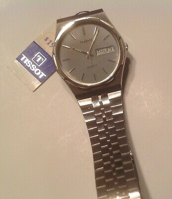 Vintage NOS NWT 80s Tissot Quartz Mens Watch A976 Stainless Steel Day Date New