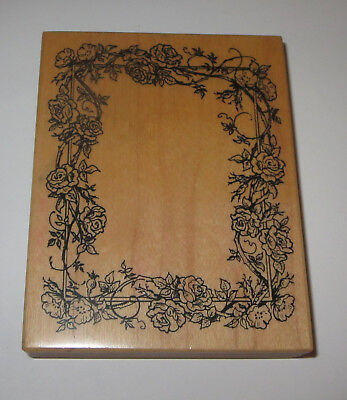 - Rose Frame Rubber Stamp PSX Border Poppy Flowers K-992 USA Made Wood Mounted