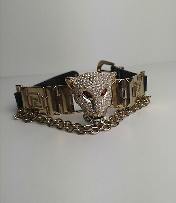 Versace for H&M Choker! Rhinestone Panther Necklace! Leather! Rare!
