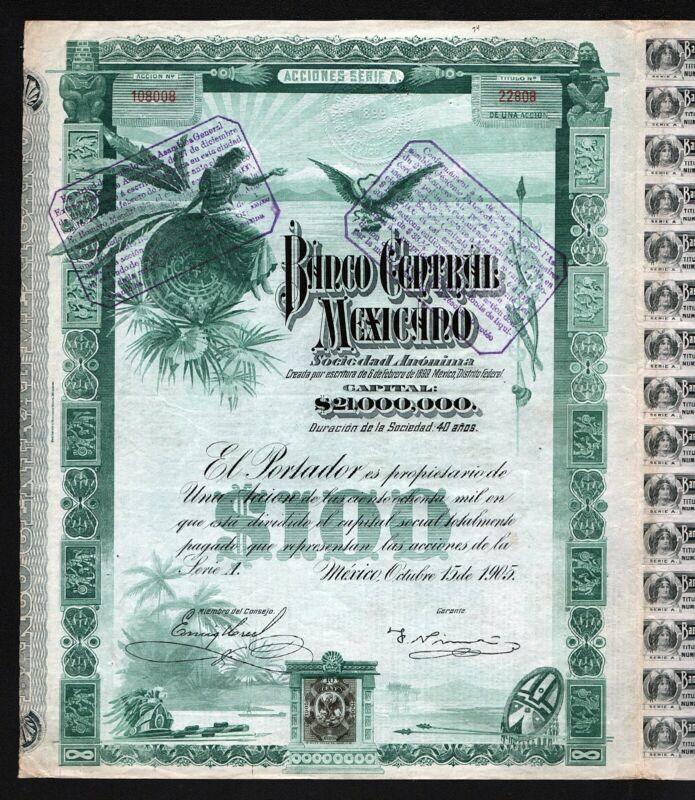 "1905 Mexico: Banco Central Mexicano ""Blueberry"" - uncancelled & coupons"