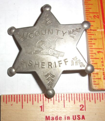 """vintage """"County Sheriff"""" badge collectible old West cowboy Southwestern pinback"""