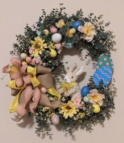 EASTER BUNNY SPRING HANDMADE WREATH FOR WALL OR DOOR PREMIUM FLOWERS & RIBBON
