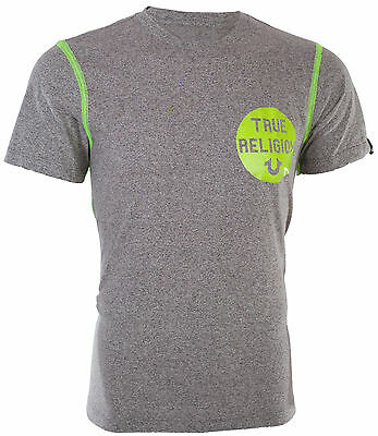 TRUE RELIGION Mens T-Shirt HEATHER CREW Washed Grey Neon Stitching $95 Jeans NWT