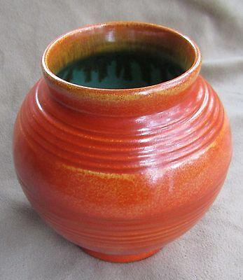 Vintage Art Deco Tangerine Turquoise STANGL Pottery Ball Vase #1907 Orange Round