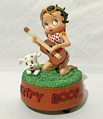 "Betty Boop Music Box Figurine ""The Folk Singer"" plays Greensleeves 1999 Betty Boop Musical Figurine"