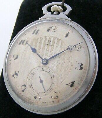 Vintage Omega calibre 35.5 open face pocket watch steel case 48,5mm.