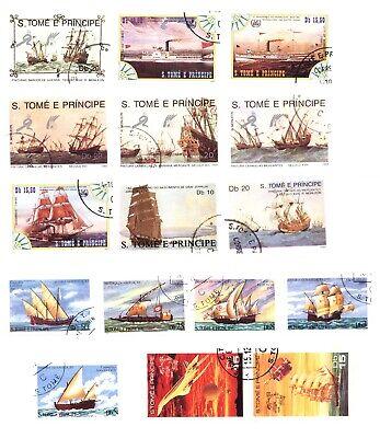 S.TOME E PRINCIPE 16 FRANCOBOLLI USATI TEMATICA NAVI (21)