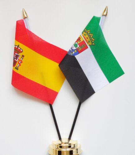 Spain State & Spain Extremadura Double Friendship Table Flag Set