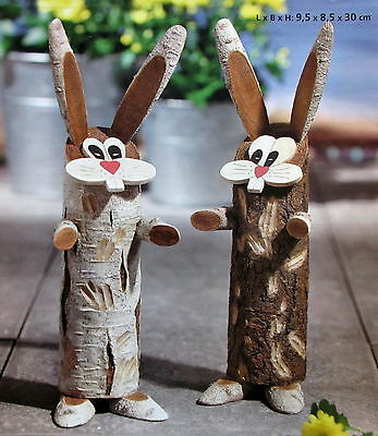 Baumstammfiguren Hasen NEU 2 er Set Deko für Ostern
