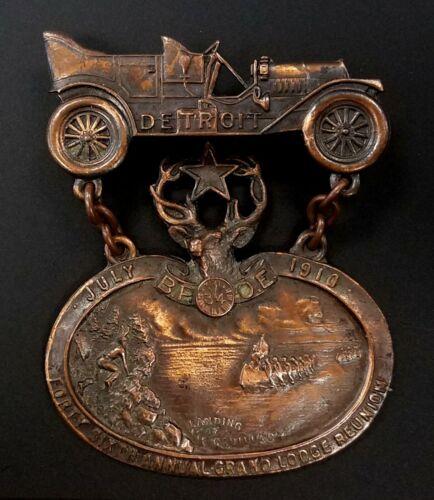 B.P.O.E., Detroit July 1910, Forty Sixth Annual Grand Lodge Reunion pin!
