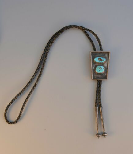 Old Pawn Navajo Indian Silver Bolo Tie - 2 Turquoise Stones in Sterling Setting