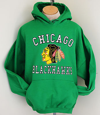 Chicago Blackhawks  Hoodie  Adult Hooded Sweatshirt  St  Patricks Day Green