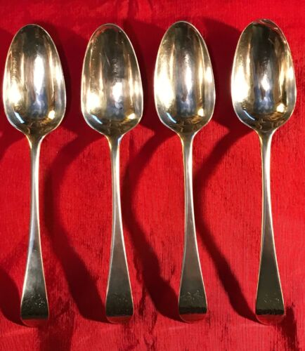 Set of 4 Large George II English Sterling Silver Serving Spoons 1759