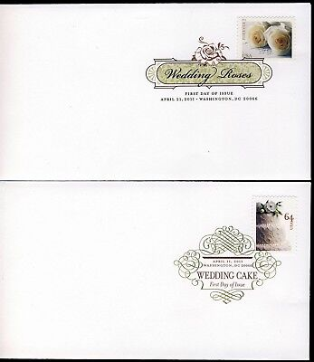 US 2011 Wedding Cakes & Roses (4520-21) .  DCP Cancel . USPS First Day Covers