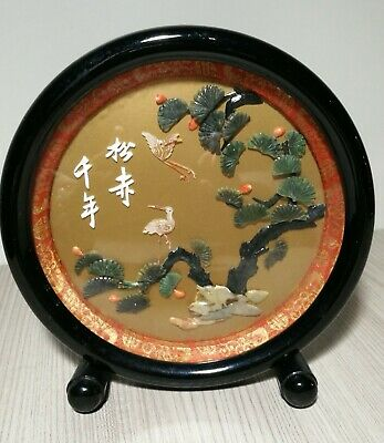 Vintage Chinese Lacquer carved Jade+soap-stone table screen H20cm very Rare