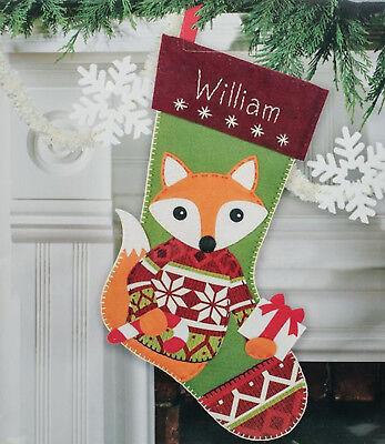Dimensions Felt Embroidery Kit - Felt Embroidery Kit ~ Dimensions Woodland Fox Christmas Stocking #72-08283