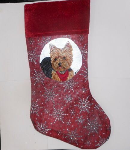 Yorkshire Terrier Yorkie Dog Hand Painted Christmas Gift Stocking Decoration