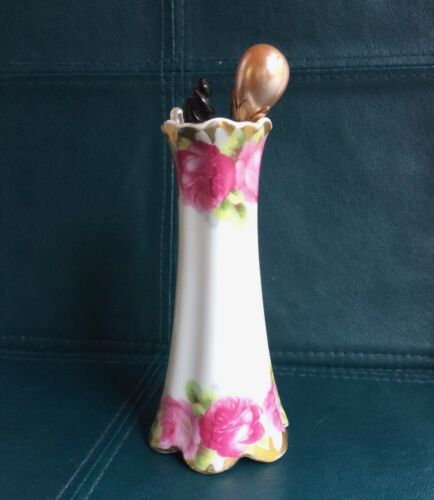 Antique Rosenthal Hat Pin Holder - Roses ~beautiful detail~ Includes hat pins