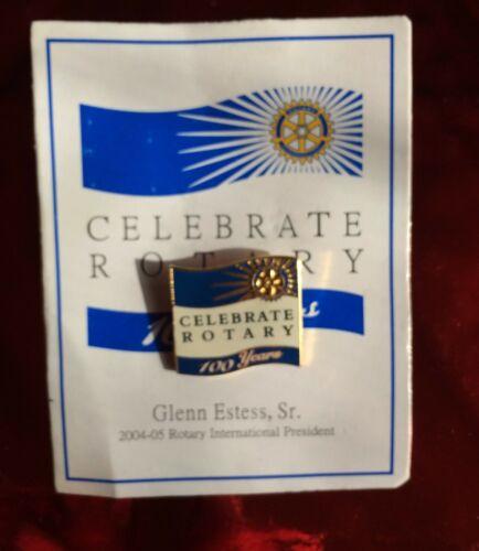 Rotary International Pin   CELEBRATE ROTARY   100 YEARS GLENN ESTESS