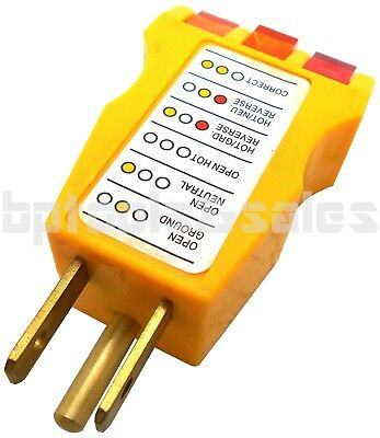 ELECTRICAL OUTLET RECEPTACLE TESTER FAULTY WIRE FINDER COLOR CODED WALL -