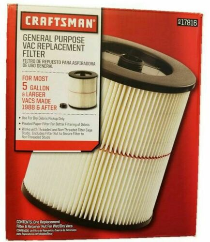 Craftsman 9-17816 Cartridge Vac Filter Fits Red Stripe Vacuum 5 Gallons 17816